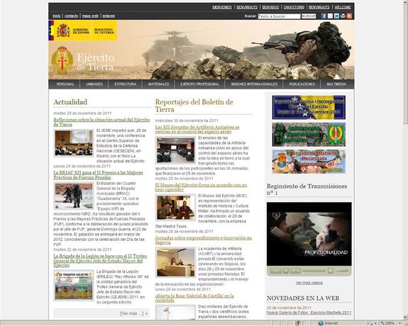 La página web del Ejército en Internet se moderniza