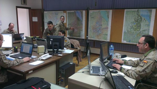 Ejecución del ejercicio en el Cuartel General de FUP