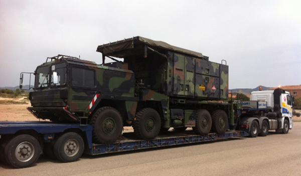 Transporte de un radar tras su llegada
