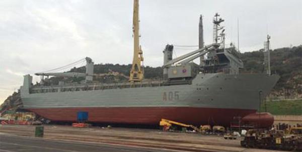 """El buque """"El Camino Español"""" durante su varada"""