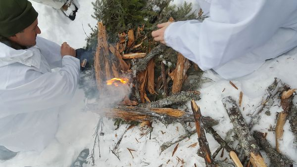 Fire preparation in a survival practice